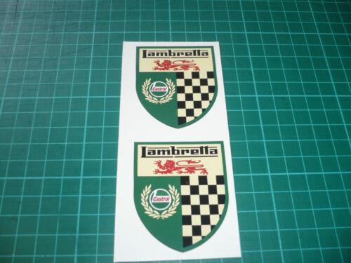 Lambretta Castrol Chequered Shield Stickers 40mm