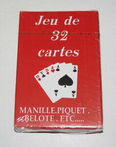 Jeux-de-32-Cartes-Classiques-9-X-6-cm-Rouges-NEUF-Playing-Crads