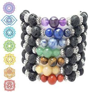7 Chakra Reiki Healing Lava Bead Bracelet   Natural Gemstone Wellbeing Gift Idea