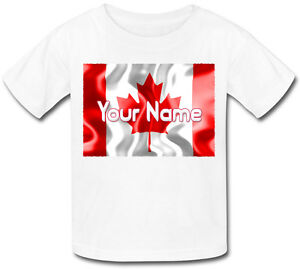 CANADIAN-CANADA-FLAG-PERSONALISED-KIDS-T-SHIRT-GIFT-FOR-A-CHILD-amp-NAMED