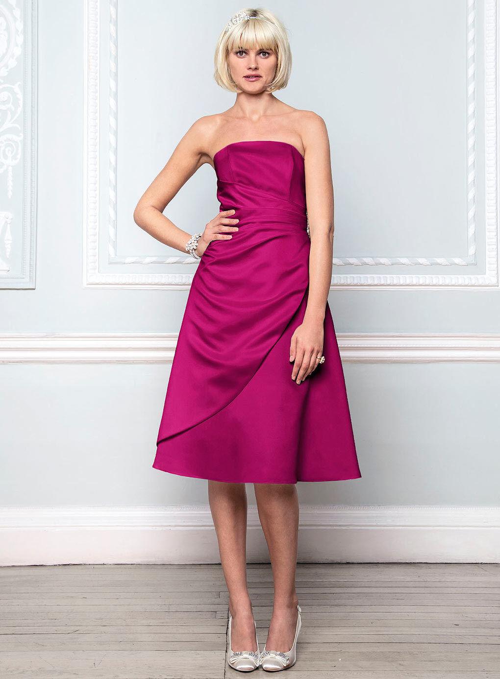 Vestido de dama dama dama de honor BNWT Talla 12 16 18 BHS Eve corto rosado Fucsia Satén d2a082
