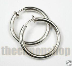 Image Is Loading Clip On 3cm Silver 3mm Thick Hoops