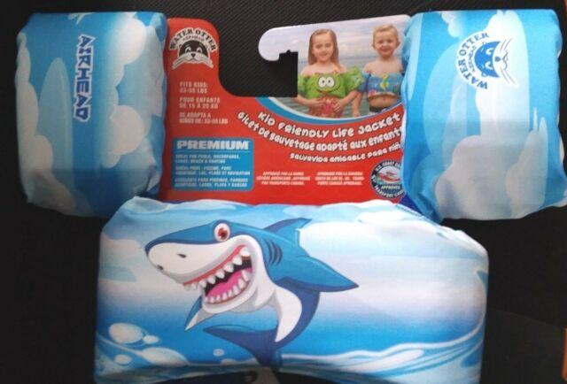 Kids Life Jacket AIRHEAD Water Otter Shark Premium 33-55 Lbs  Pool Lake  Boating