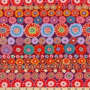 Free Spirit Kaffe Fassett Row Flowers PWGP169-Red Contemporary Cotton Fabric BTY