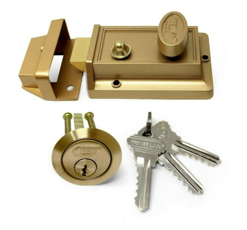 Bronze Finish with Rim Cylinder+3 Keys Keyed Alike Grip Tight Tools Night Latch