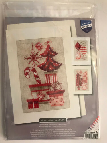 Vervaco DIY Kits CHRISTMAS MOTIF Greeting Card Set w// Envelopes Cross Stitch Kit