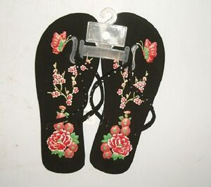 b816d1cf10 Details about LADIES FLIP FLOPS WITH FLORAL DESIGN AND RHINESTONES,6-11  SIZE, FREE SHIPPING