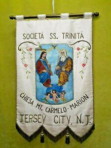 Vintage-Iglesia-Pancarta-Societa-Ss-trinita-Hecho-a-Mano-Arte-Pintar-Orfebreria