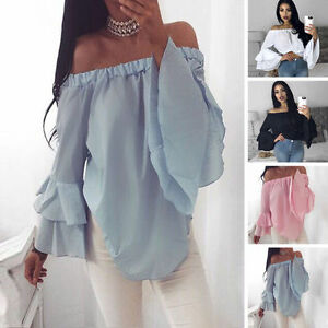 UK-Summer-Womens-Chiffon-Off-Shoulder-Shirt-Flare-Long-Sleeve-Blouse-Casual-Tops