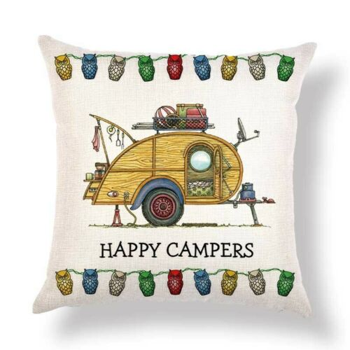 """Happy Campers Camping Caravan 18/"""" Square Cushion Cover Pillow Case Carton Gift"""