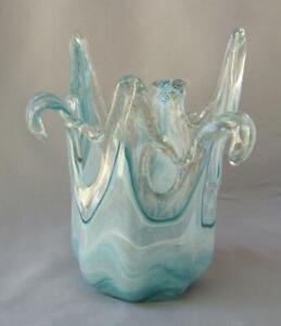 Genuine Art Glass Vase Bowl Blue and White Murano Tammaro Made in Italy No 520