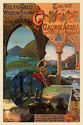 Ireland Galway Connemara Achill Vintage Travel Poster Repro FREE S/H