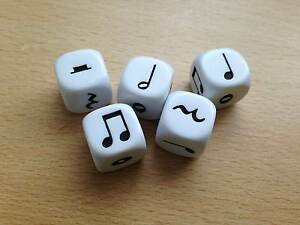 5-x-16mm-White-Music-Six-Sided-Dice-D6-Music-Teaching-Resource-D035