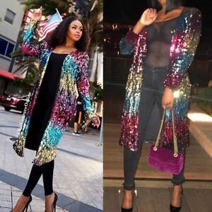 Women's Cover Up Long Sleeve Sequins Metallic Open Front Cardigan Coat Jacket by Unbranded