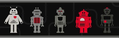 BLACK SILVER RED ROBOT BOYS CHILDRENS KIDS TEENAGE WALLPAPER BORDER DLB07533