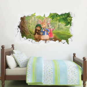 Details About Peter Rabbit Wall Art Benjamin Bunny And Lily Forest Smashed Mural