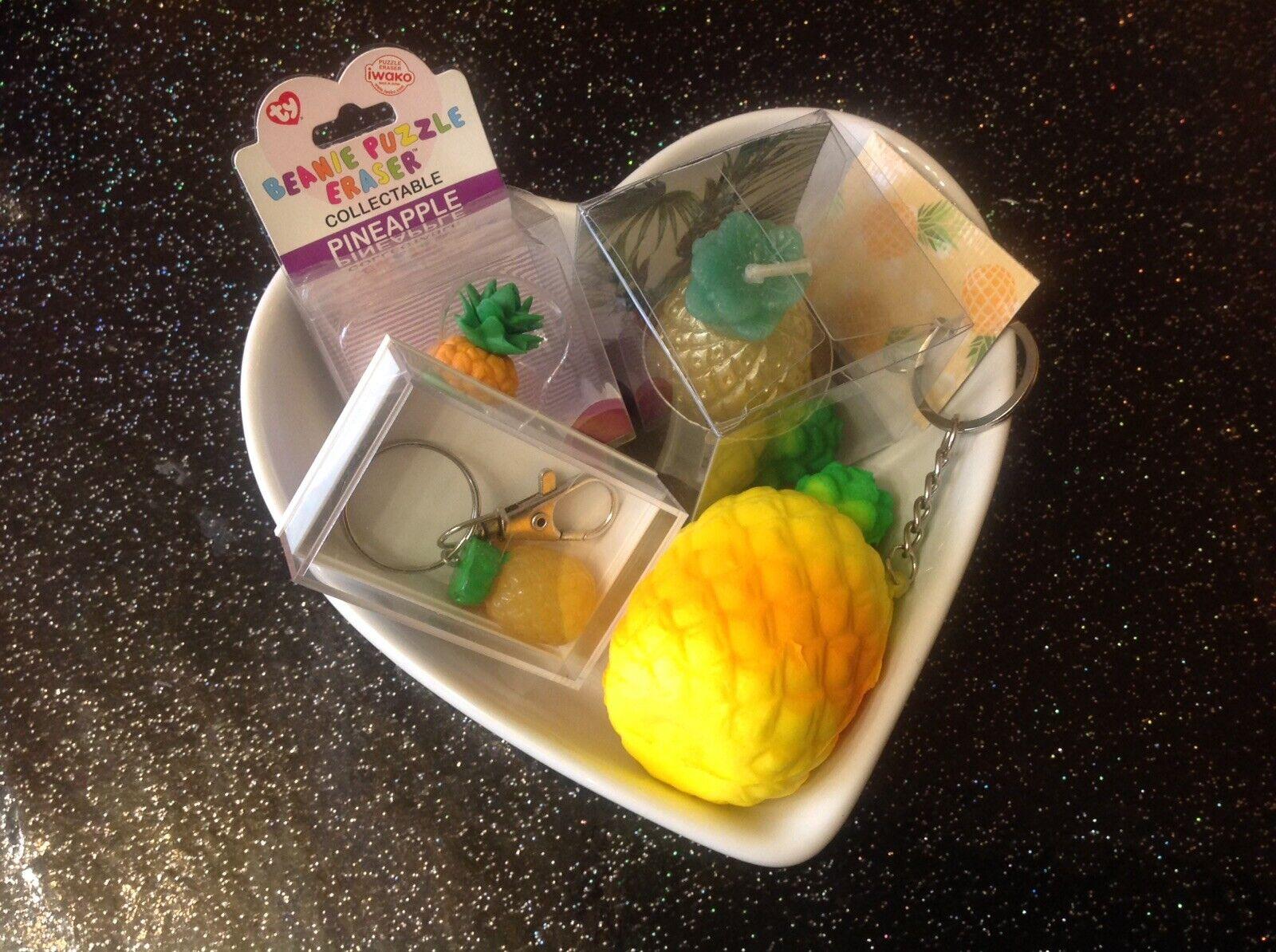 Retro Tiki Pineapple 5 Pc Gift Set Squishy Candle Keyring Eraser In Heart Dish