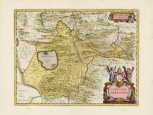 Old Vintage Perugia Region Italy Decorative Map Blaeu Ca 1655 Ebay