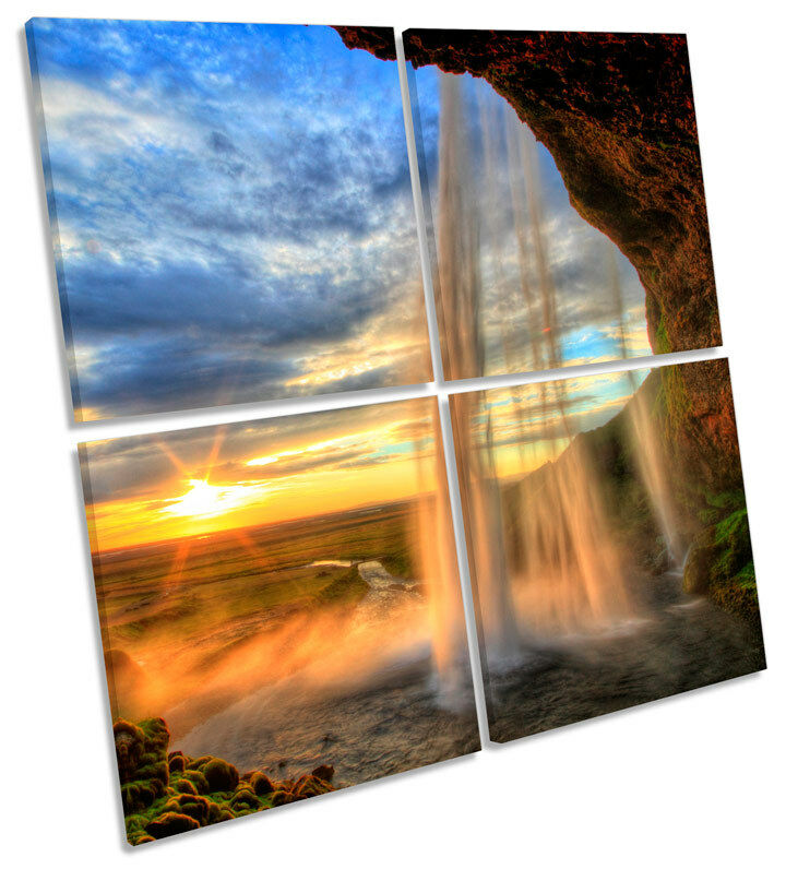 Iceland Sunset Waterfall MULTI CANVAS WALL ART Square Print