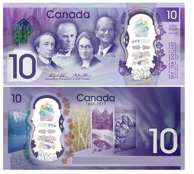2017 $10 Polymer CRISP UNC Canada Bank note 150 th Commemorative Bill NO TAX !