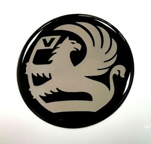 VAUXHALL-GRIFFIN-Sticker-Chrome-on-Black-70mm-HIGH-GLOSS-DOMED-GEL-FINISH
