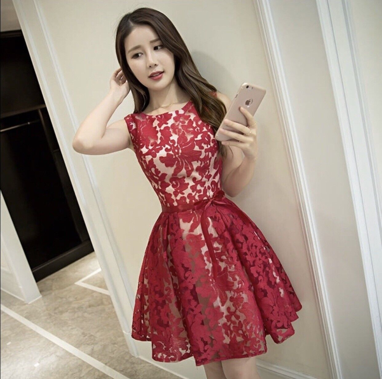 NEW Red and White Sleeveless Floral Dress