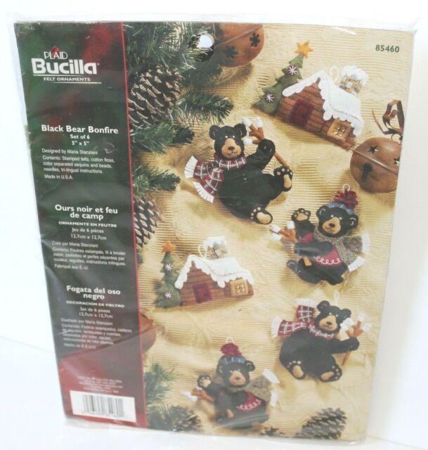 Bucilla Felt Applique Kit Santa/'s Black Bear Cabin Ornaments Set of 6