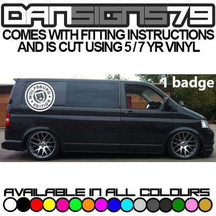 1 X VW TRANSPORTER T4 T5 T6 WOLFSBURG LOGO SIDE BADGE GRAPHICS DECAL STICKER BIG