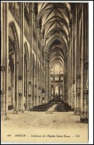 Rouen-France-CPA-1920-30-Eglise-Saint-Ouen-Interieur-Innenansicht-Kirche-Altar
