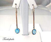14k Yellow Gold Dangle Earrings 2  Long With Oval Shape Blue Topaz .