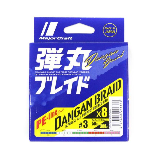 6321 Major Craft Dangan Braided Line X8 300m P.E 1 Multi DB8-300//1MC//20lb