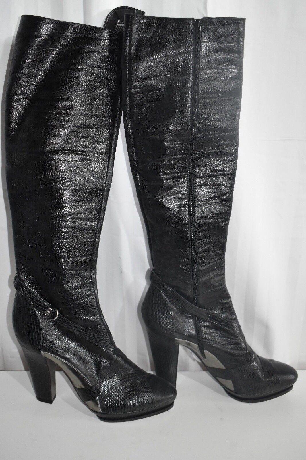 Nuevo BCBG Max Azria Cuero Negro Plateado Plateado Plateado la rodilla botas altas talla 9  nueva gama alta exclusiva