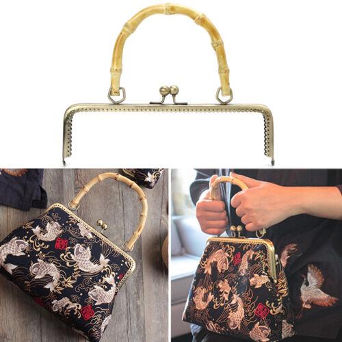 Metal Bamboo Purse Handbag Handle Coins Bags Kiss Clasp Lock Frame 20cm//25cm DIY