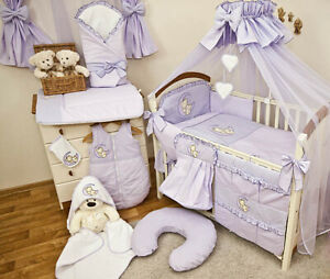 Grau Babybett RAD mit 10-tlg Komplett-Set Bettwäsche Matratze Nestchen Maus
