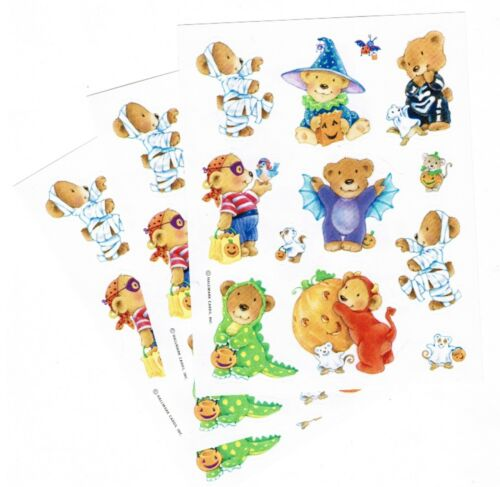 3 Sheets Teddy BEARS in Halloween Costumes Scrapbook Stickers Mummy Dragon Bat