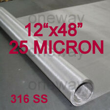 12x48 Roll 25 Micron Stainless Steel 316 Ss Mesh Cloth Screen Filter 25u