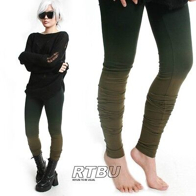 Mega Long Slouch Gathered Ruched Punk Dip Dye Green Ombre Cotton Legging Yoga