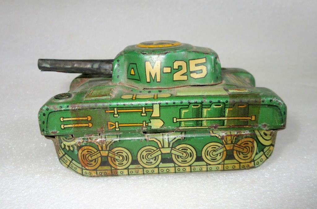 Potencia De Fricción Vintage fuego Sparkle M-25 Tanque De Guerra Estaño Juguete Japón Coleccionable edh
