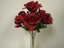 "2 Bushes RED Open Rose Artificial Silk Flowers 15"" Bouquet 7-039RD"