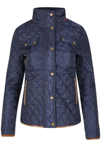 Womens Ladies Diamond Coat Quilted Farmer Elbow Patch Riding Funnel Neck Jacket