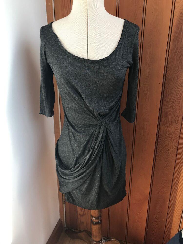 Tous Les Sants Gris Twain Jersey Twist Robe Tunique 8 Bnwt