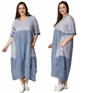 Kekoo-Stylisches-Damen-Kleid-Midikleid-Grau-Blau-Gr-42-44