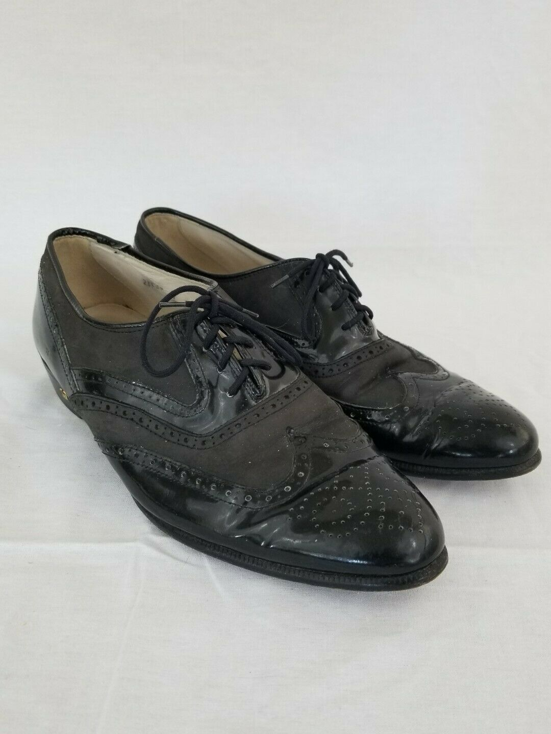 Stacy Adams Size 9 Wide Black Leather Wingtip Oxfords New Mens shoes