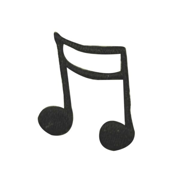 MUSICAL DOUBLE NOTE BLACK IRON ON APPLIQUE 1 3//8 x 1 5//8 inch