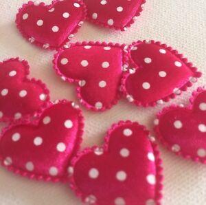 50-X-Fuchsia-Pink-White-Polka-Dot-Satin-Padded-Heart-Embellishments-24x21mm