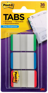 3M-Post-It-Tabs-1-034-x-1-5-034-Writable-Repositionable-3-Lined-Colors-36pk