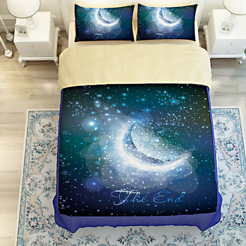 3D Moon Sky Natural9 Bed Pillowcases Quilt Duvet Cover Set Single Queen AU Carly