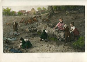 Children-at-Play-Engraving-By-Th-Lander-Over-Artwork-Of-Ludwig-Knaus-IN
