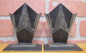 Orig-Art-Deco-Cast-Iron-Decorative-Arts-Geometric-Bookends-1920s-era-book-ends