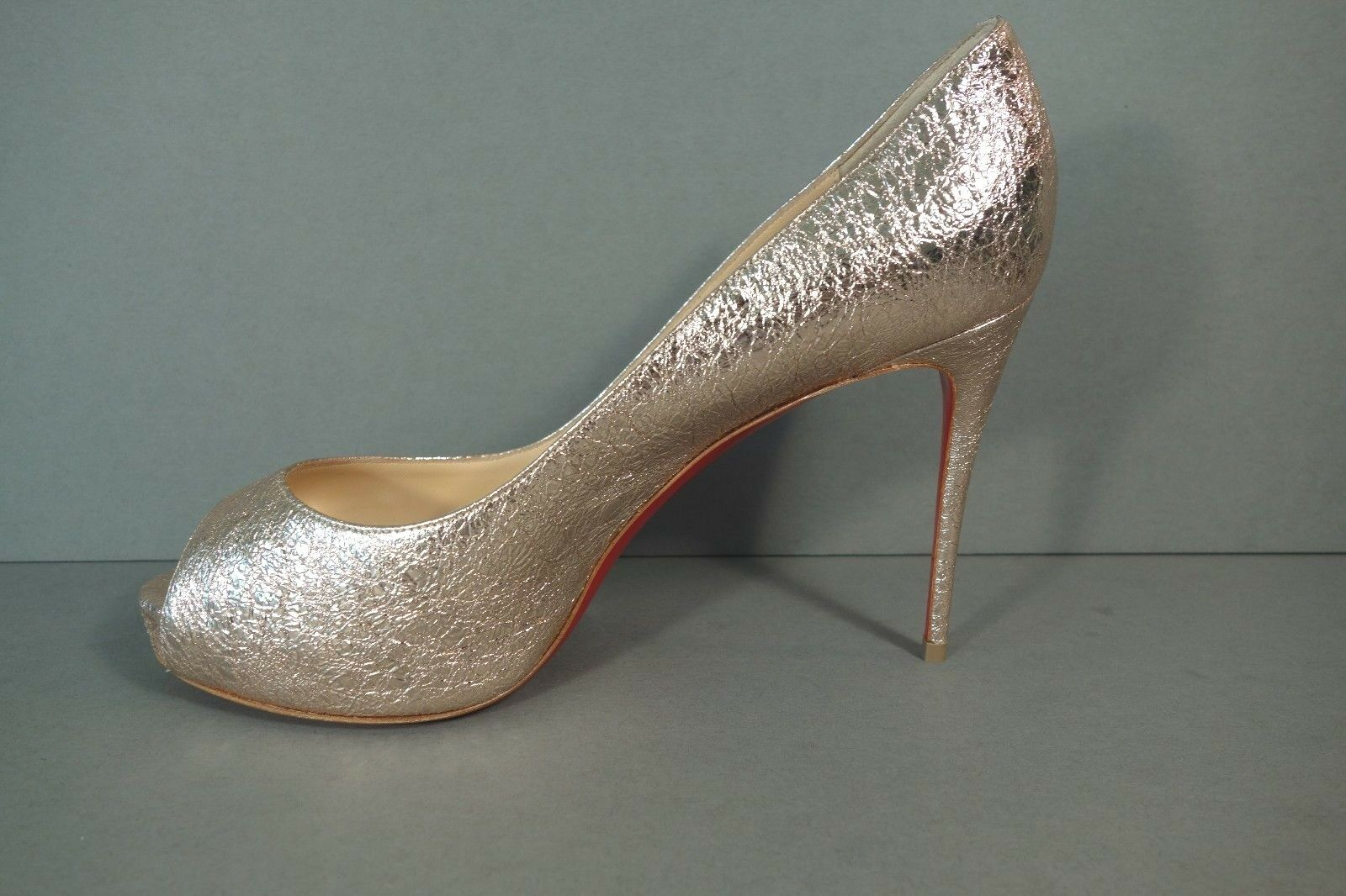 factory price 2e286 3d29b Louboutin 39 Very Prive 100 Rose Gold Platform PUMPS HEELS PEEP Toe Shoe